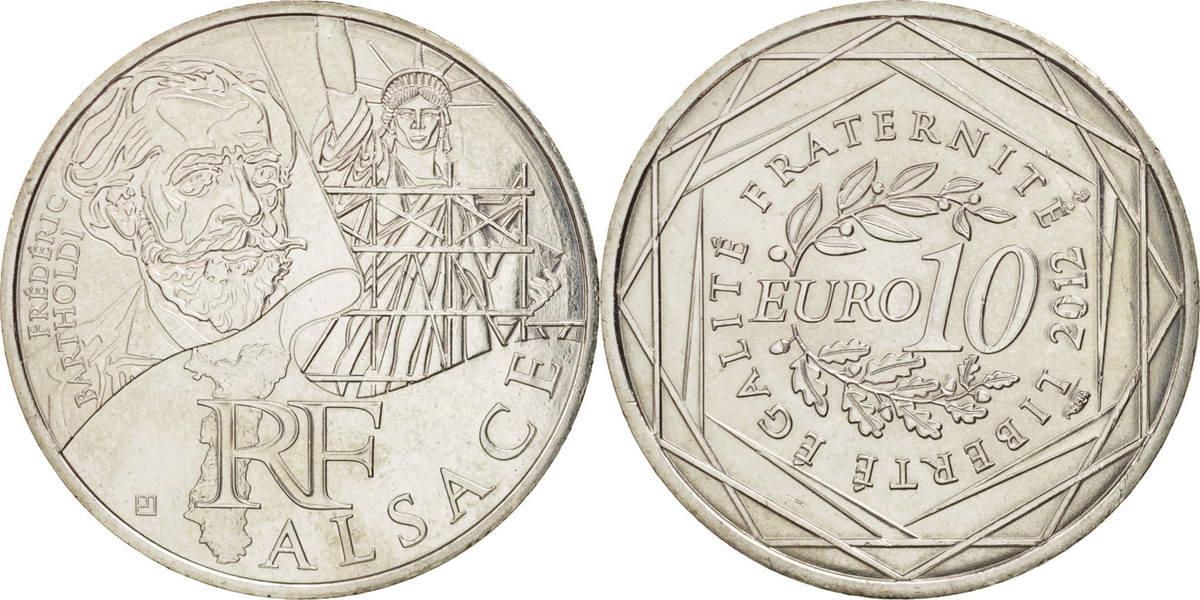 10 Euro 2012 (a) Frankreich 10 Euro Alsace, UNZ+, Silber, KM:1870 UNZ+