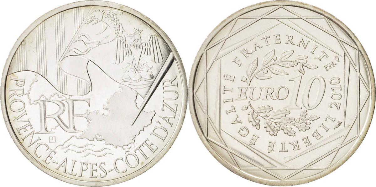 10 Euro 2010 Paris Frankreich 10 Euro Provence-Alpes-Côte-d'Azur, STGL, Silber, KM:1668 STGL