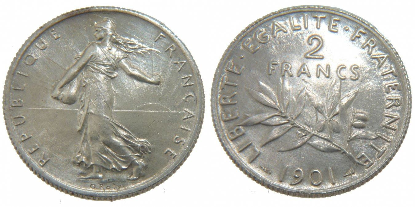 2 Francs 1901 Paris Frankreich Semeuse AU(50-53)
