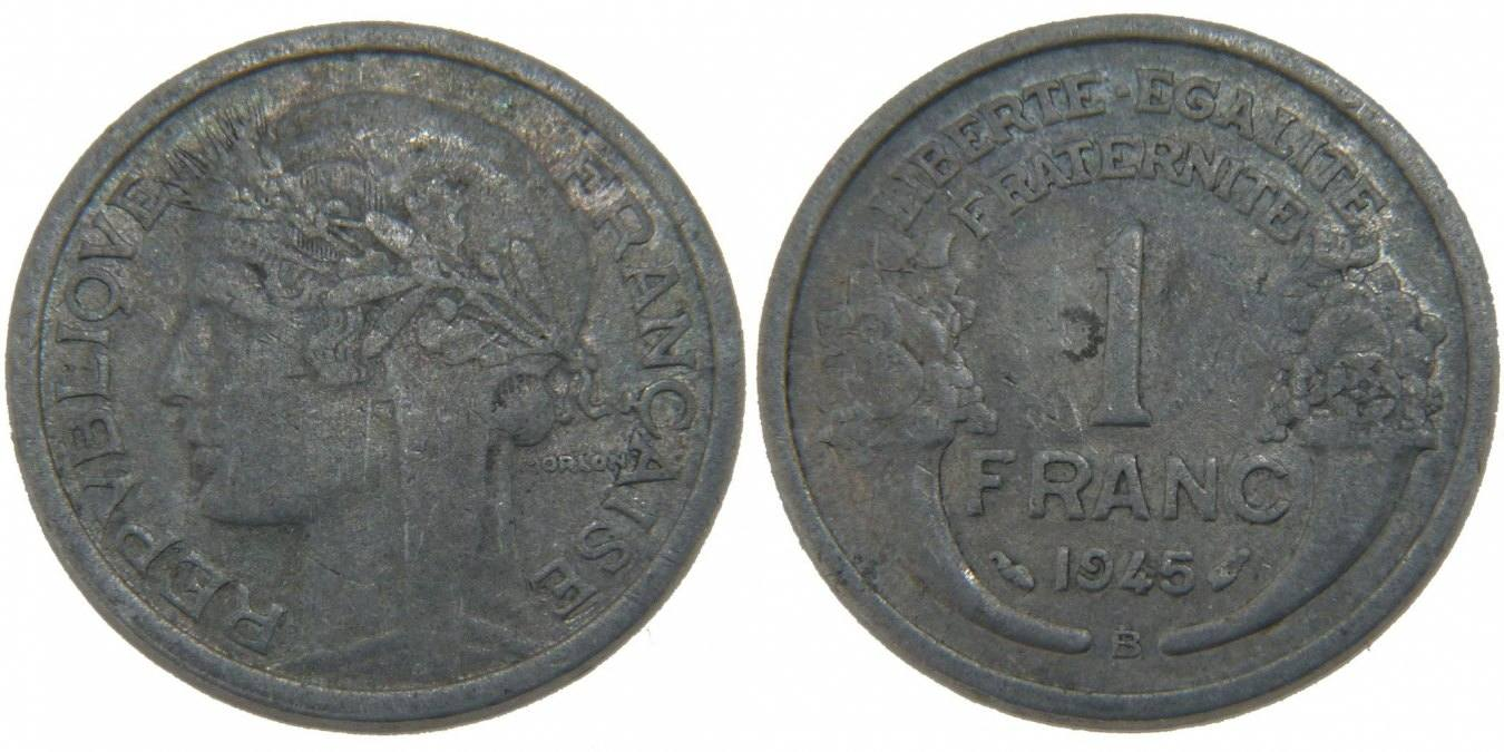 Franc 1945 B Frankreich Morlon EF(40-45)