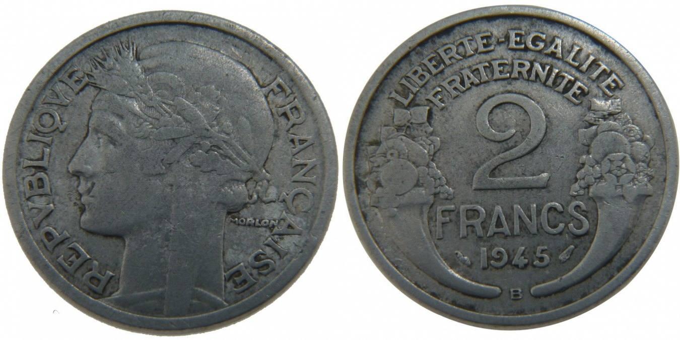 2 Francs 1945 B Frankreich Morlon VF(30-35)