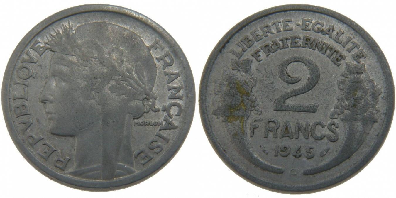 2 Francs 1945 C Frankreich Morlon VF(30-35)