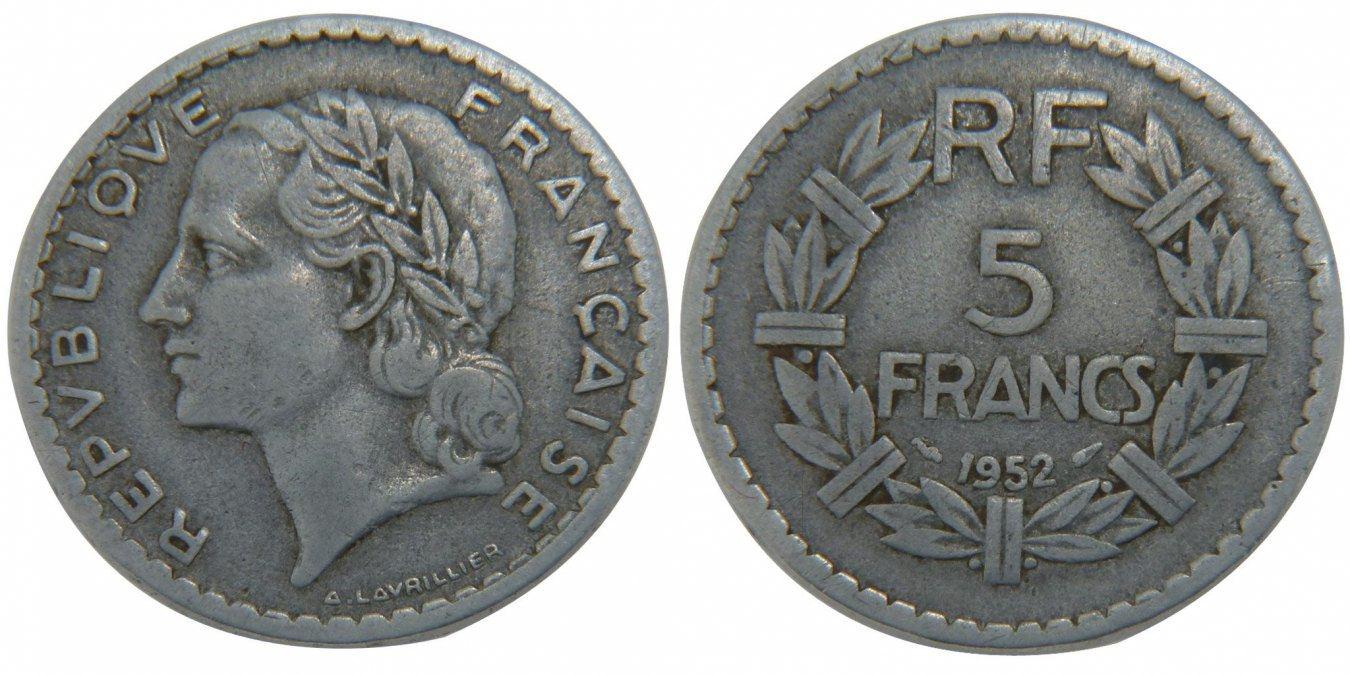 5 Francs 1952 Frankreich Lavrillier VF(30-35)