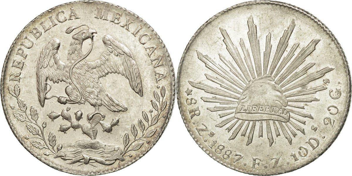 8 Reales 1887 Zs Mexiko Münze Zacatecas Unz Silber Km37713 Unz