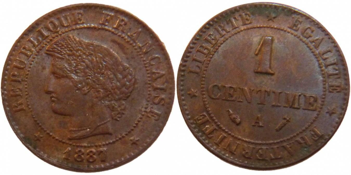 Centime 1887 A Frankreich Cérès AU(50-53)