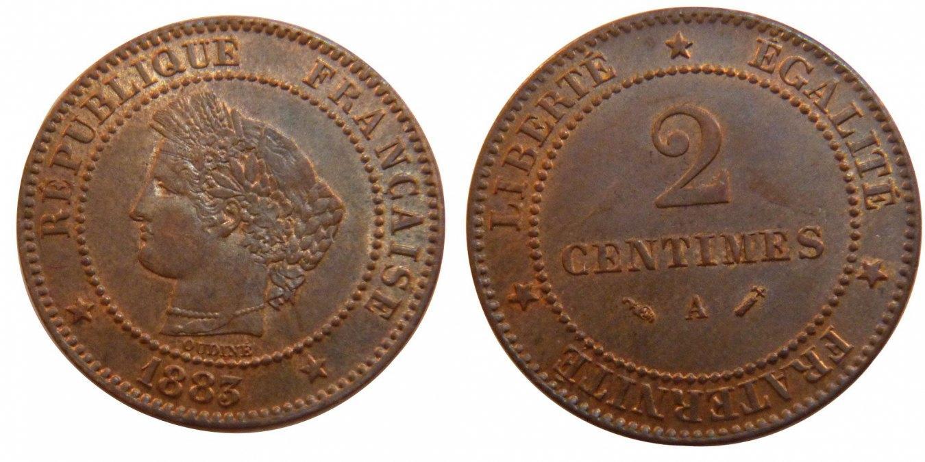 2 Centimes 1883 A Frankreich Cérès MS(60-62)