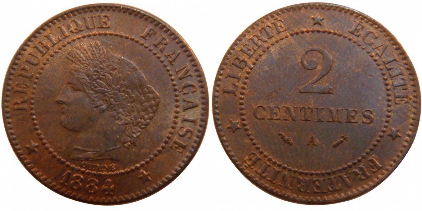 2 Centimes 1884 A Frankreich Cérès MS(60-62)