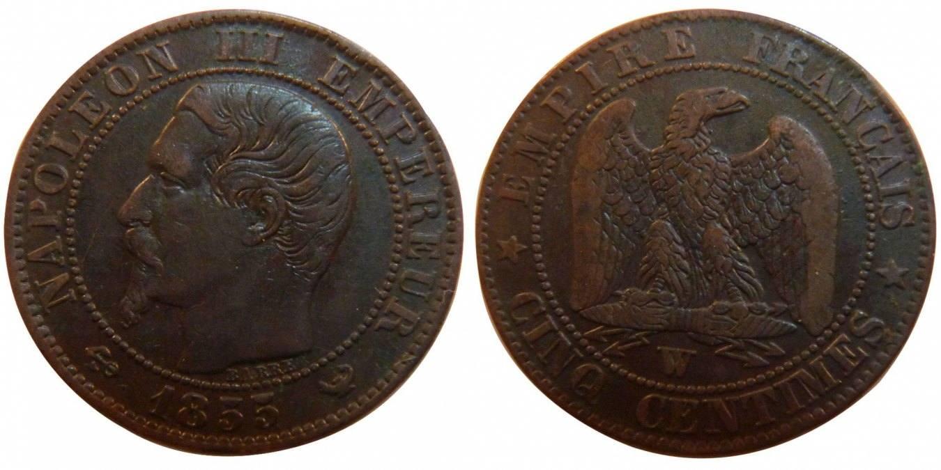 5 Centimes 1855 W Frankreich Napoléon III Napoleon III EF(40-45)