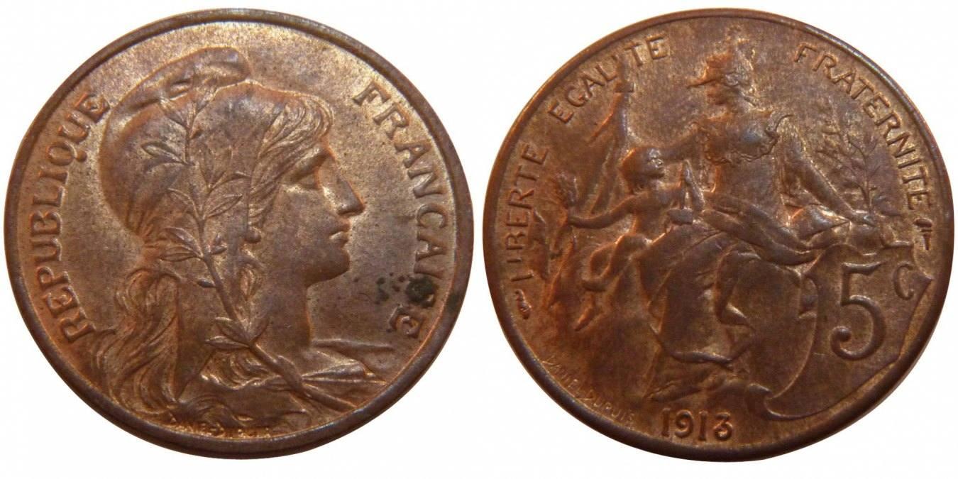 5 Centimes 1913 Frankreich Dupuis AU(55-58)
