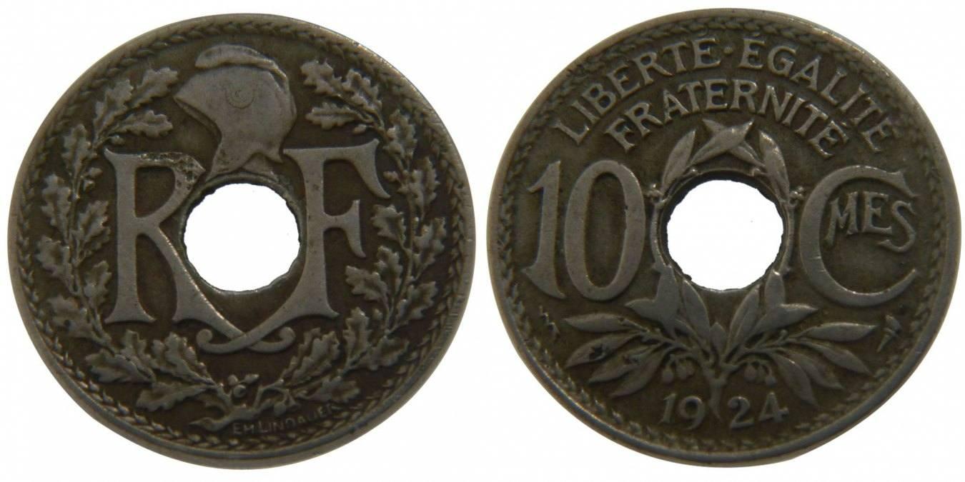 10 Centimes 1924 Frankreich Lindauer VF(30-35)