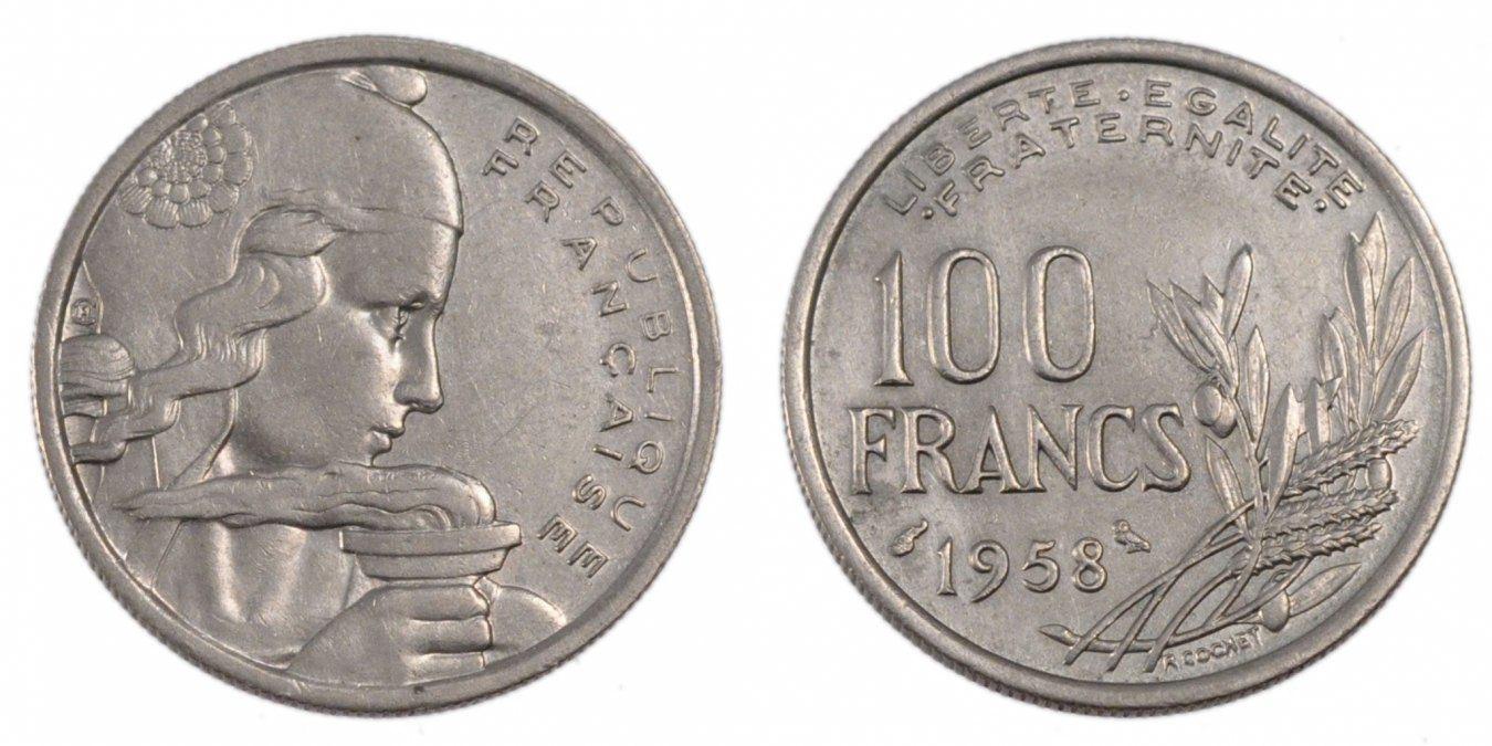 100 Francs 1958 Frankreich Cochet AU(50-53)