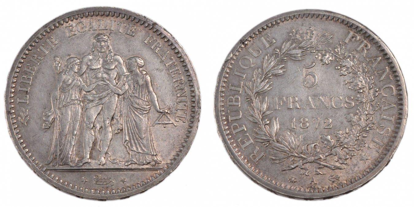 5 Francs 1872 A Frankreich Hercule AU(50-53)