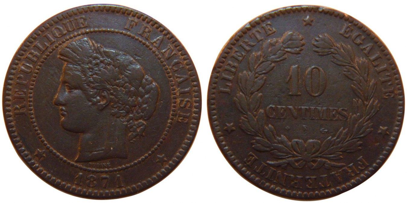 10 Centimes 1871 K Frankreich Cérès EF(40-45)