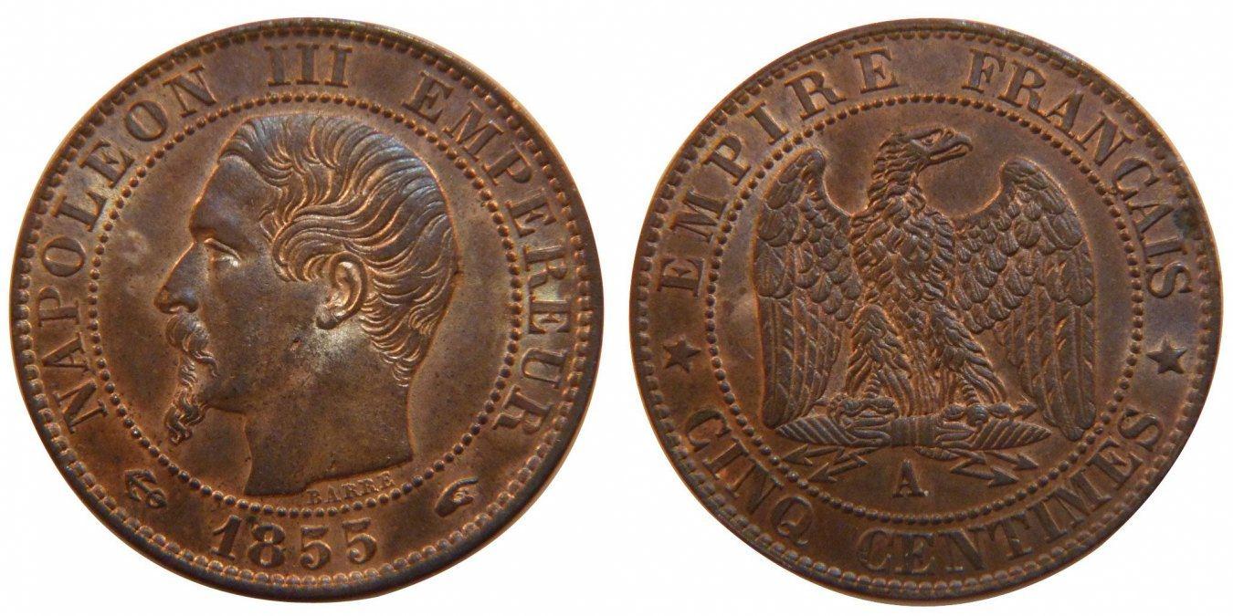 5 Centimes 1855 A Frankreich Napoléon III Napoleon III MS(64)