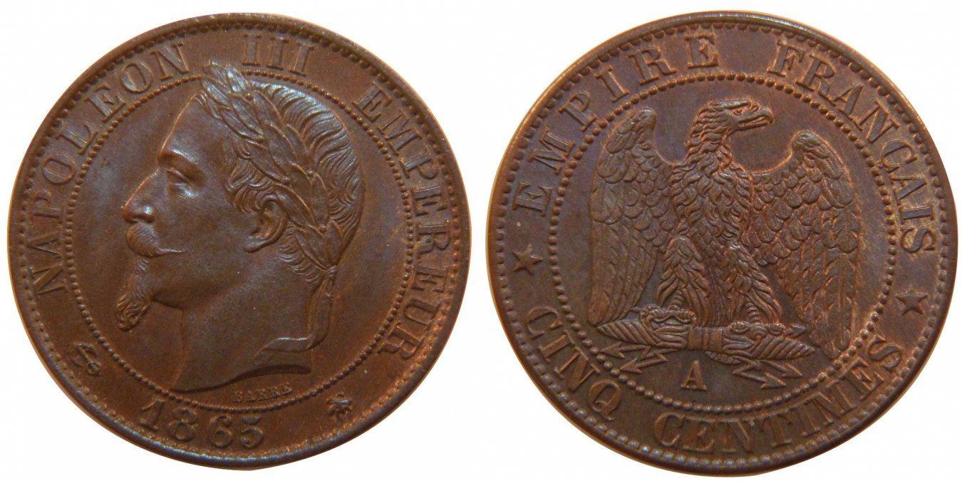 5 Centimes 1865 A Frankreich Napoléon III Napoleon III MS(64)