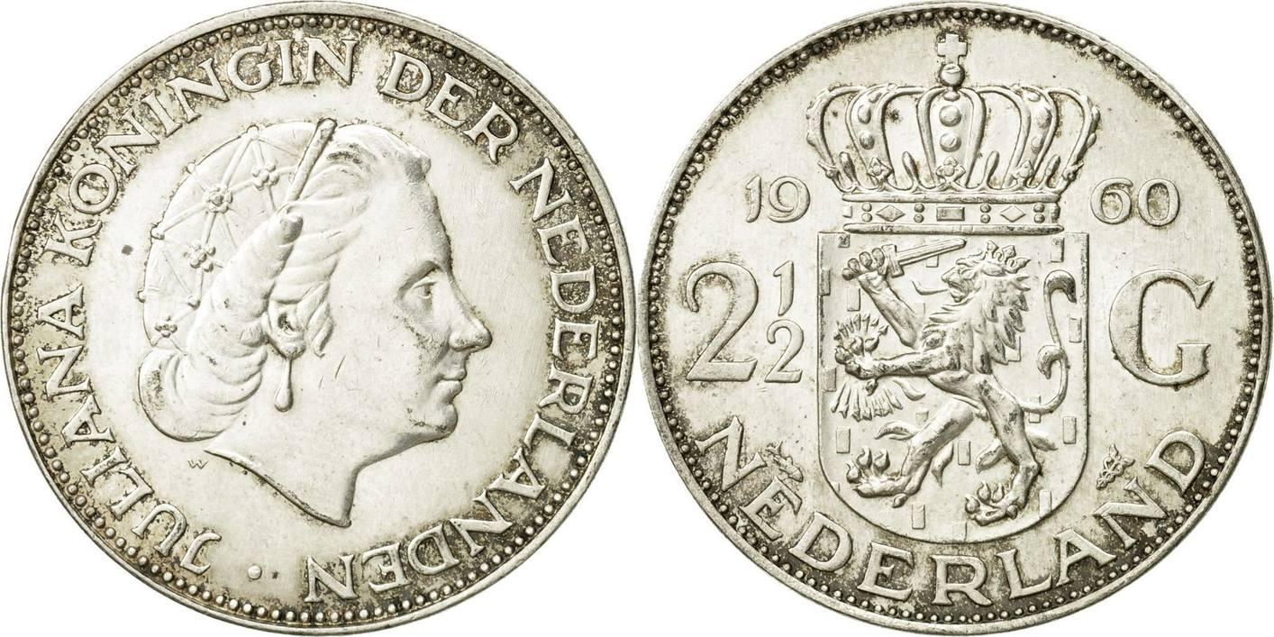 2 12 Gulden 1960 Niederlande Münze Juliana S Silber Km185 S
