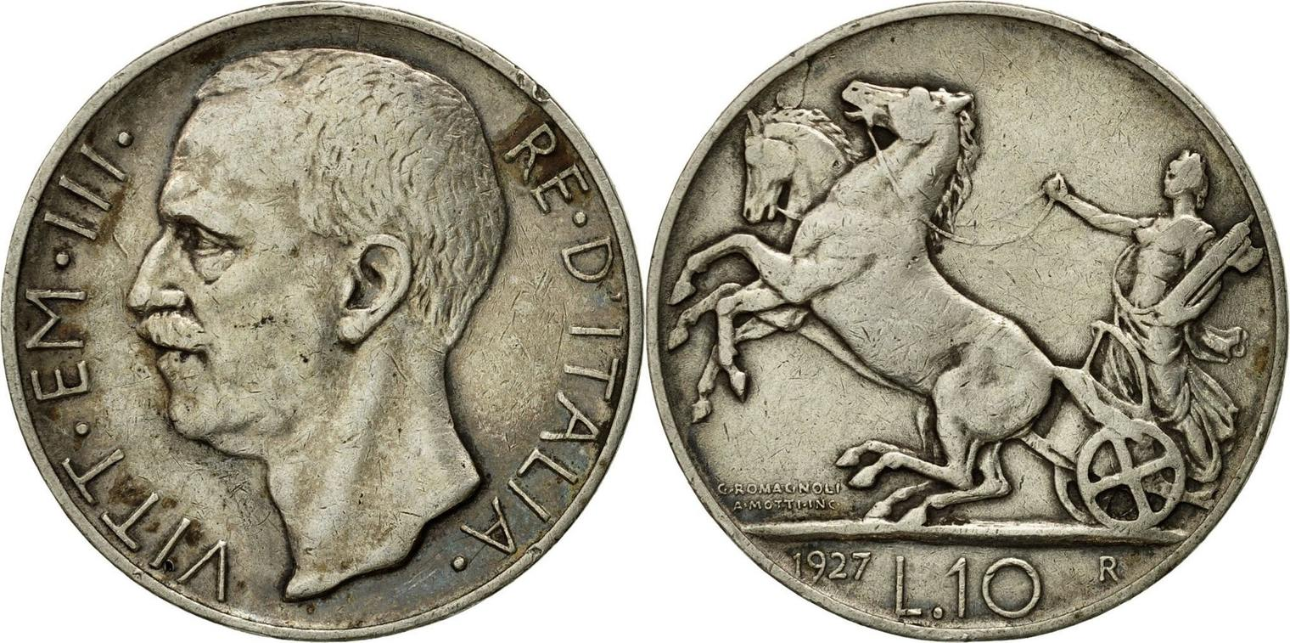 10 Lire 1927 R Italien Münze Vittorio Emanuele Iii Rome Ss
