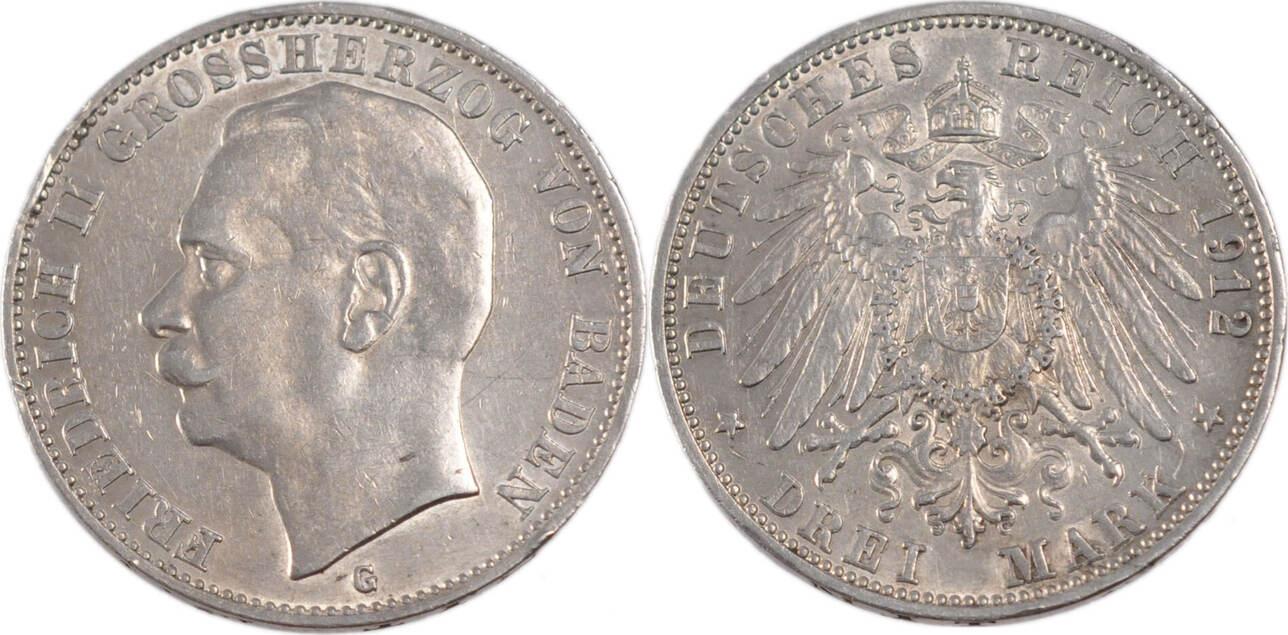 3 Mark 1912 G Deutsch Staaten Friedrich II AU(50-53)