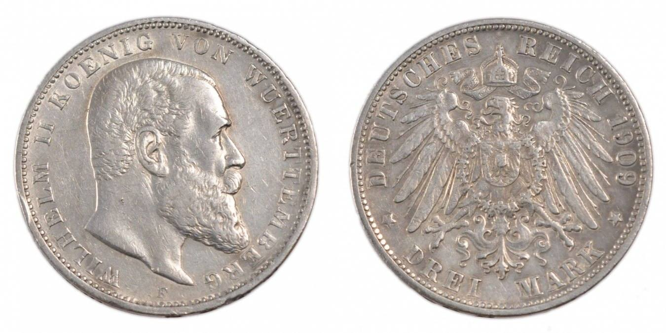 3 Mark 1909 F Deutsch Staaten Wilhelm II EF(40-45)