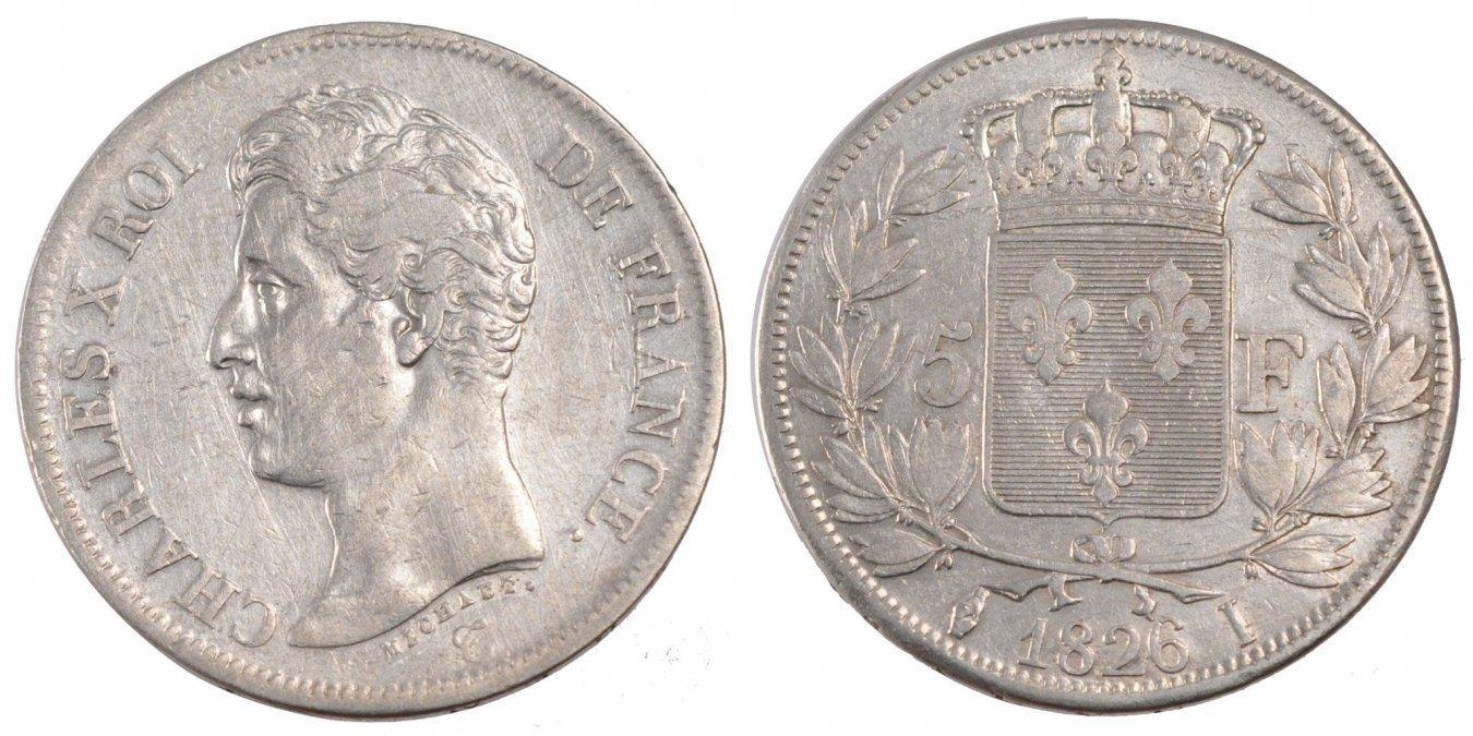 5 Francs 1826 I Frankreich Charles X EF(40-45)
