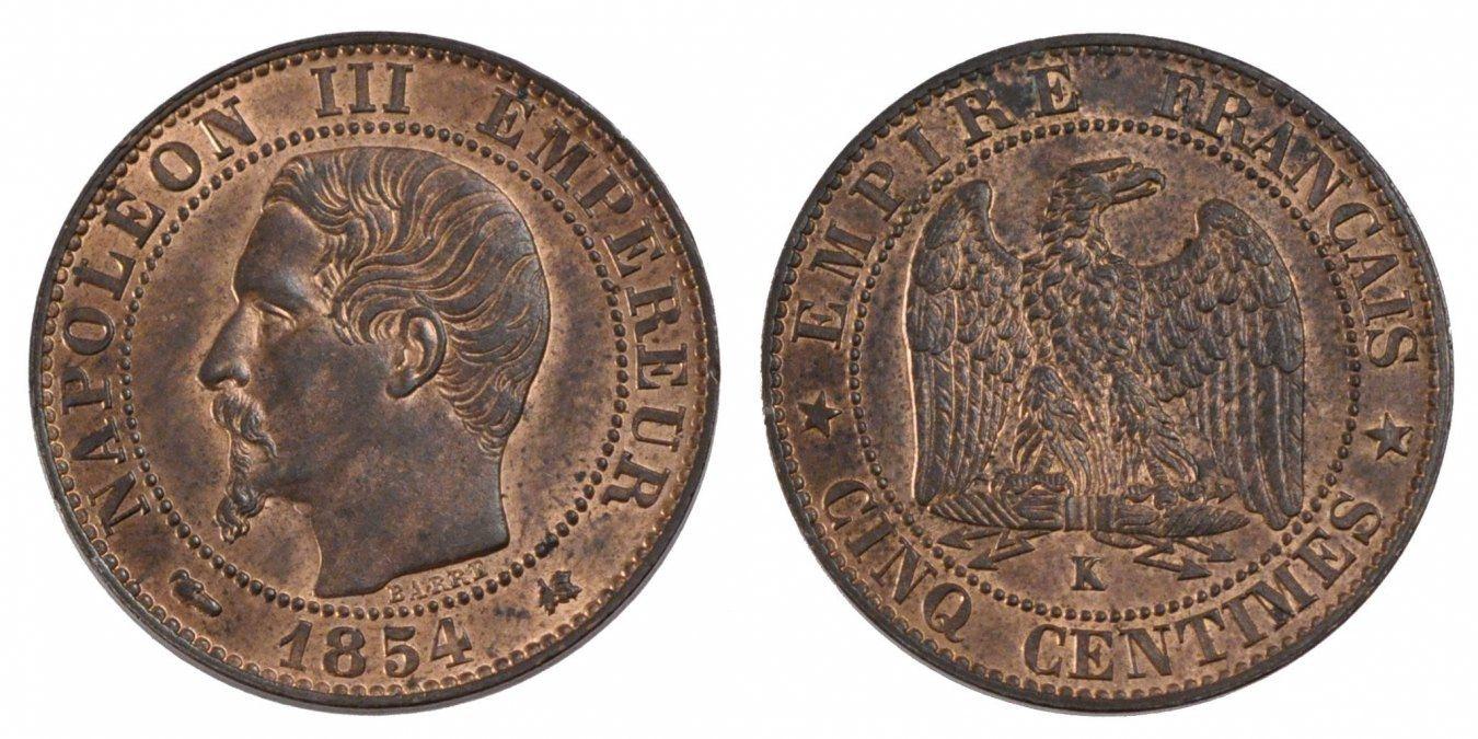5 Centimes 1854 K Frankreich Napoléon III Napoleon III MS(64)