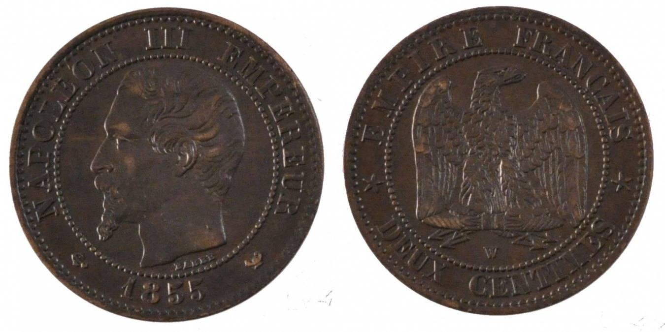 2 Centimes 1855 W Frankreich Napoléon III Napoleon III AU(50-53)