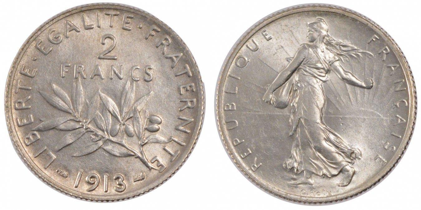 2 Francs 1913 Paris Frankreich Semeuse MS(60-62)