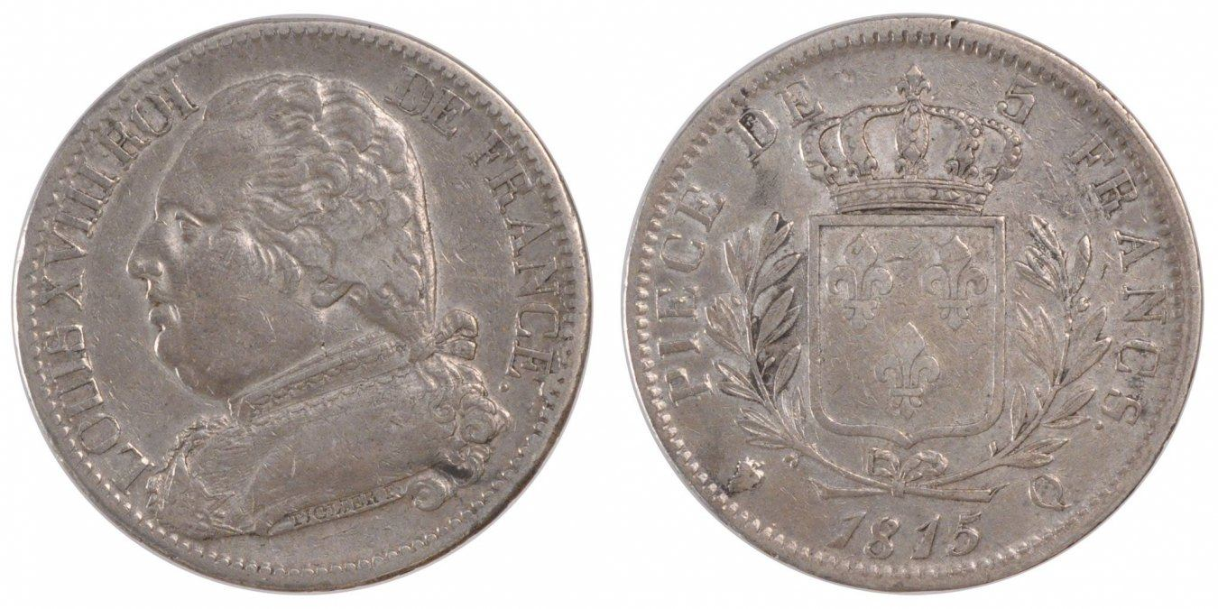 5 Francs 1815 Q Frankreich Napoléon I EF(40-45)
