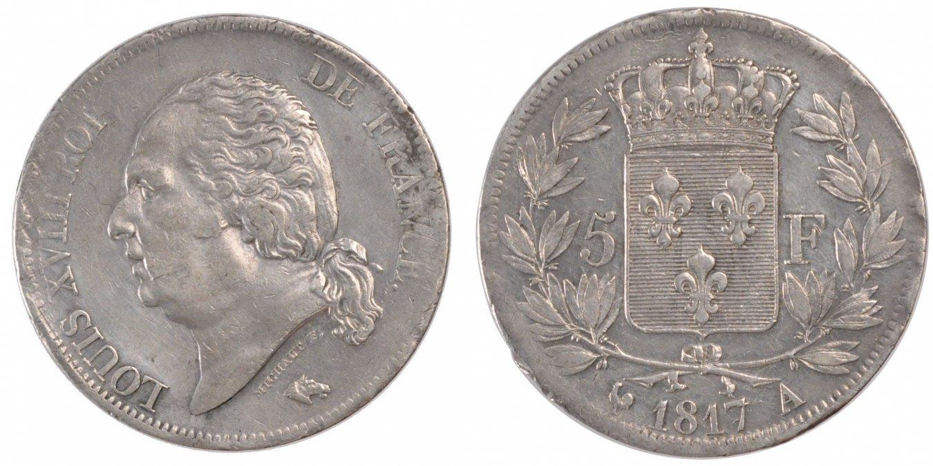 5 Francs 1817 A Frankreich Louis XVIII Louis XVIII AU(50-53)
