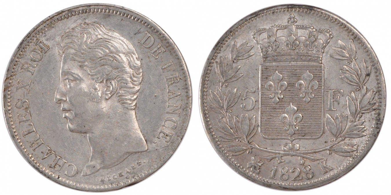 5 Francs 1828 K Frankreich Charles X AU(50-53)