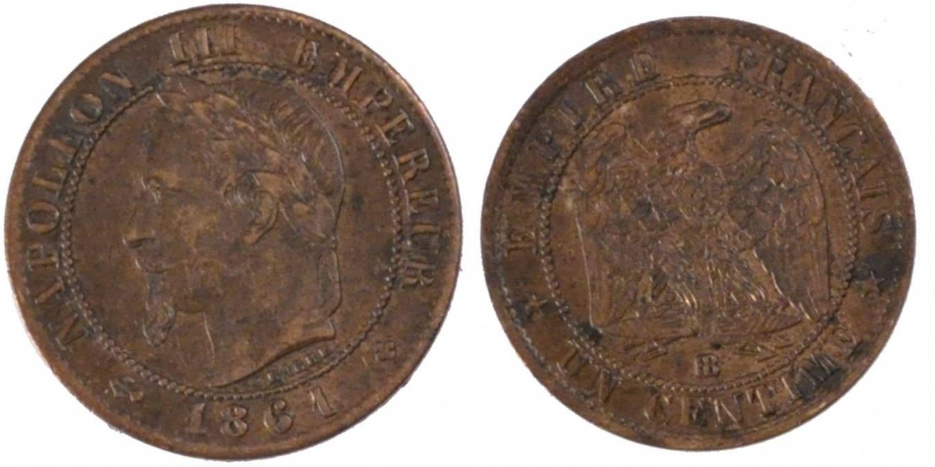 Centime 1861 BB Frankreich Napoléon III Napoleon III AU(50-53)