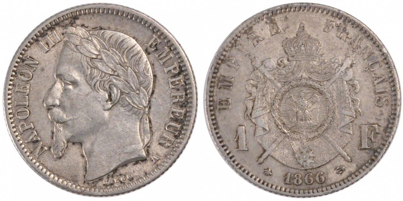Franc 1866 A Frankreich Napoléon III Napoleon III AU(50-53)