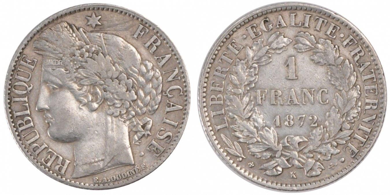 Franc 1872 K Frankreich Cérès AU(50-53)