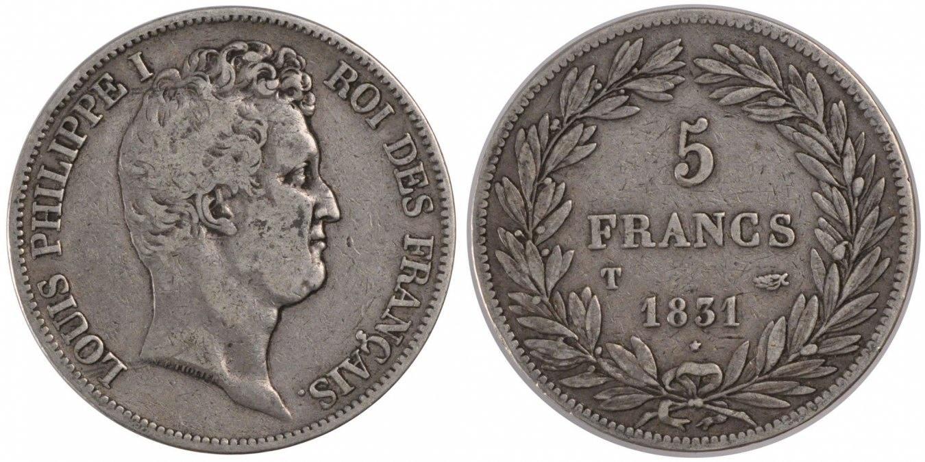 5 Francs 1831 T Frankreich Louis-Philippe EF(40-45)