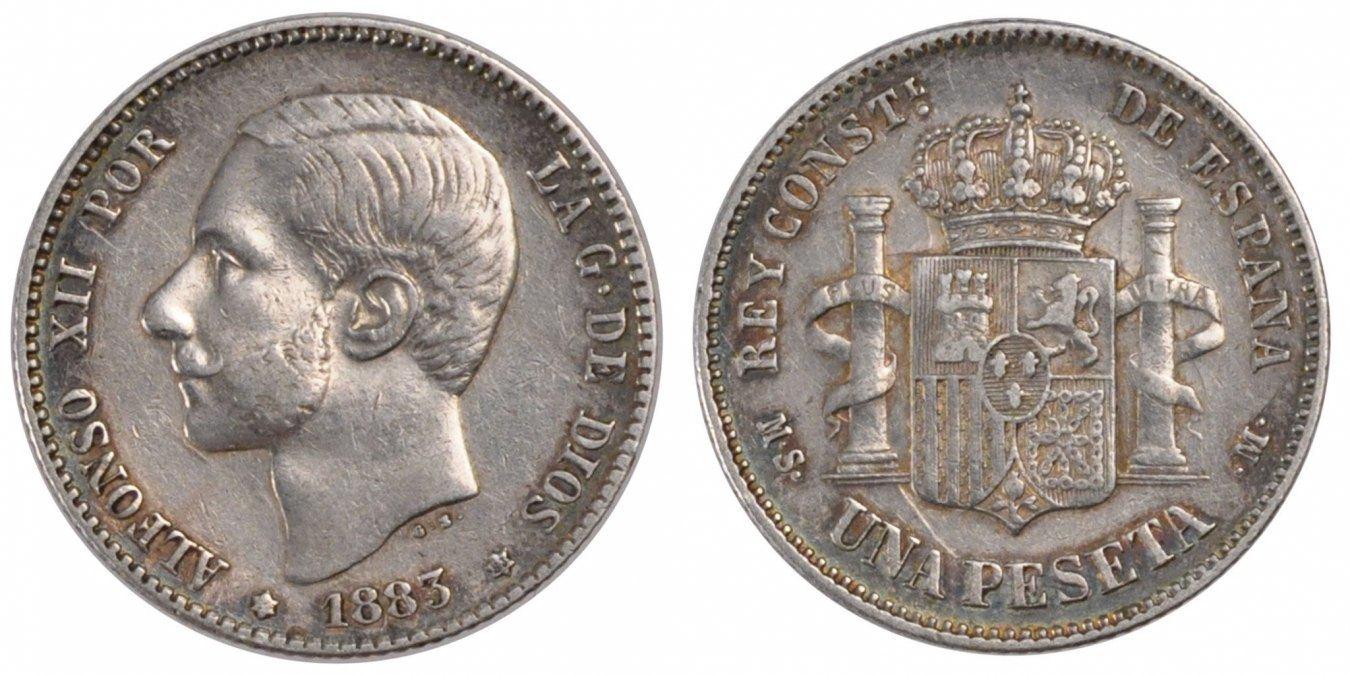 Peseta 1883 Madrid Spanien Alfonso XII AU(50-53)