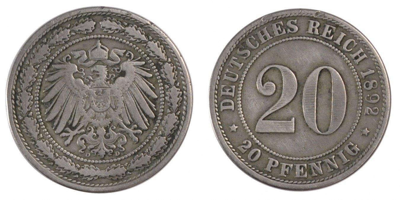 20 Pfennig 1892 E GERMANY - EMPIRE EF(40-45)