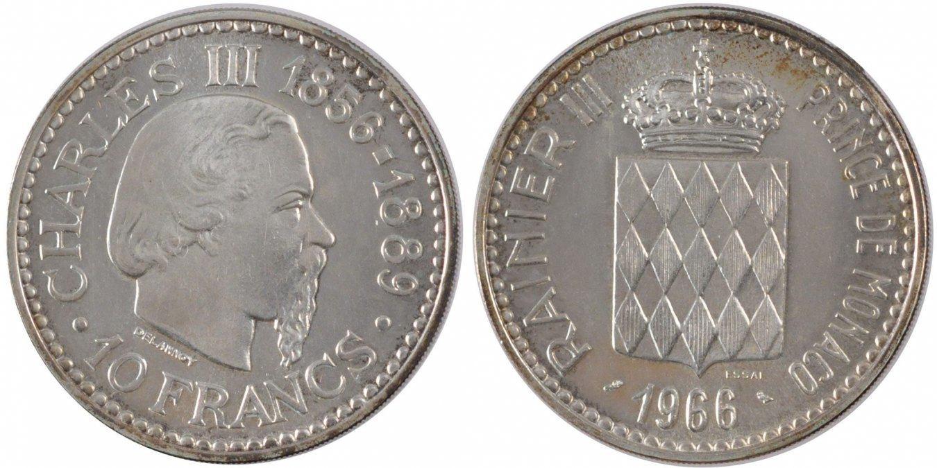 10 Francs 1966 Monaco MS(65-70)