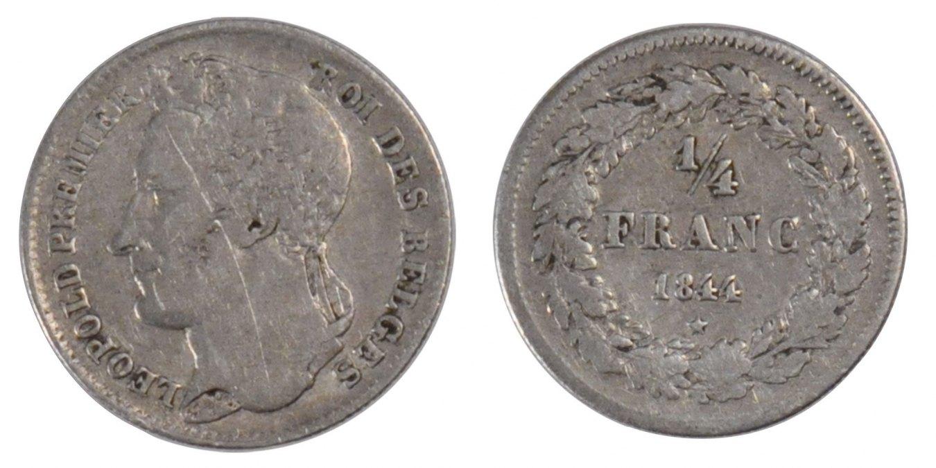 1/4 Franc 1844 Belgien Leopold I EF(40-45)