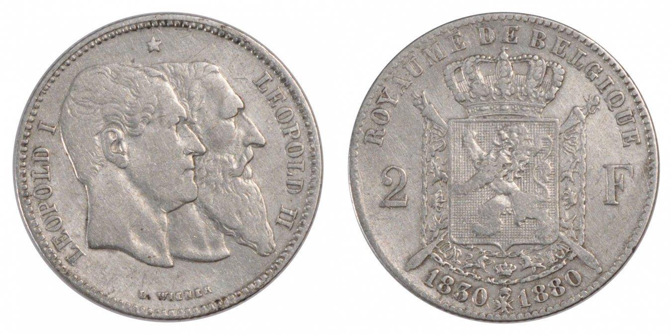 2 Francs, 2 Frank 1880 Belgien 50th Anniversary of Independence Leopold II EF(40-45)