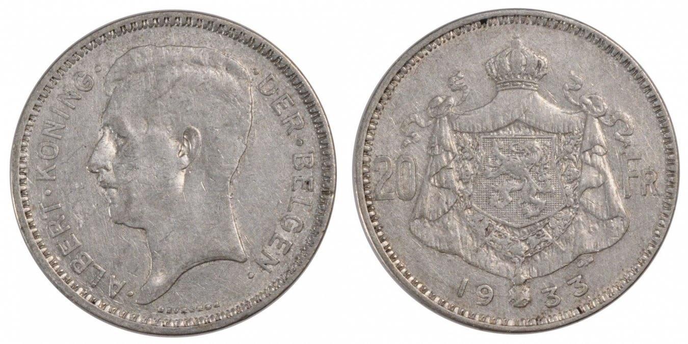 20 Francs, 20 Frank 1933 Belgien EF(40-45)