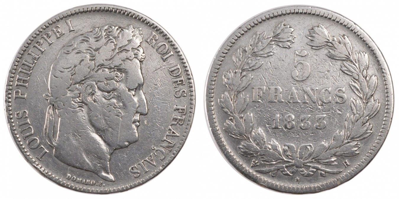 5 Francs 1833 H Frankreich Louis-Philippe VF(20-25)