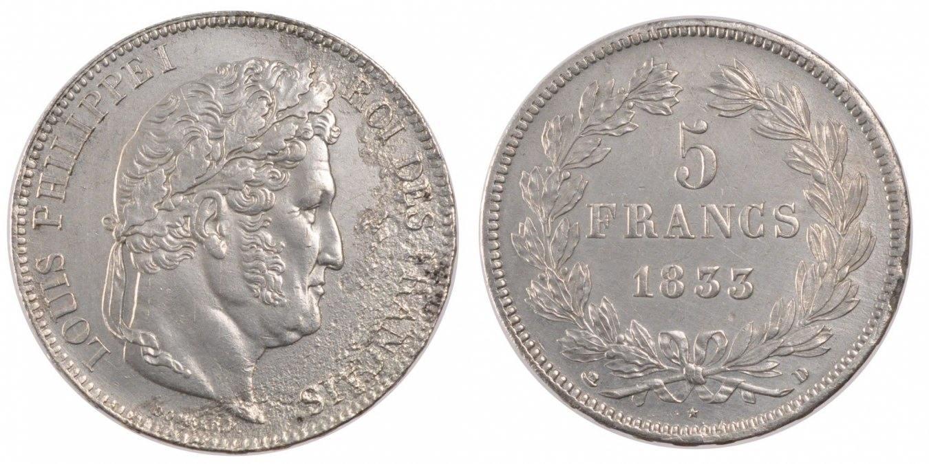 5 Francs 1833 D Frankreich Louis-Philippe AU(55-58)