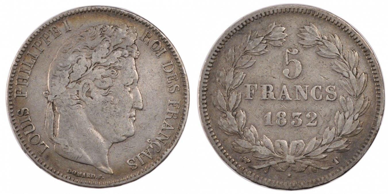 5 Francs 1832 T Frankreich Louis-Philippe VF(30-35)