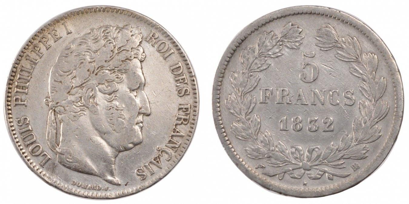 5 Francs 1832 BB Frankreich Louis-Philippe EF(40-45)