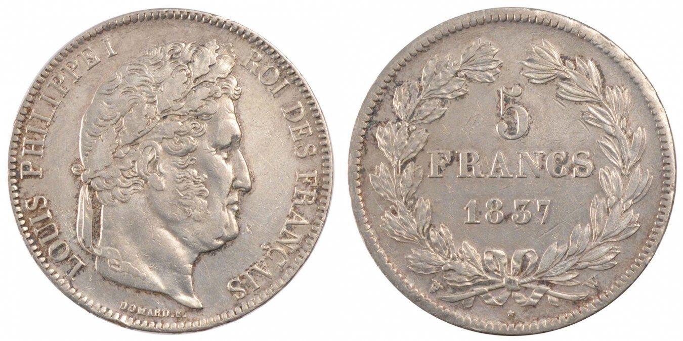 5 Francs 1837 W Frankreich Louis-Philippe AU(55-58)