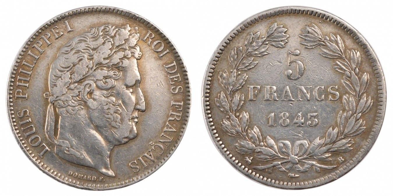 5 Francs 1843 B Frankreich Louis-Philippe EF(40-45)