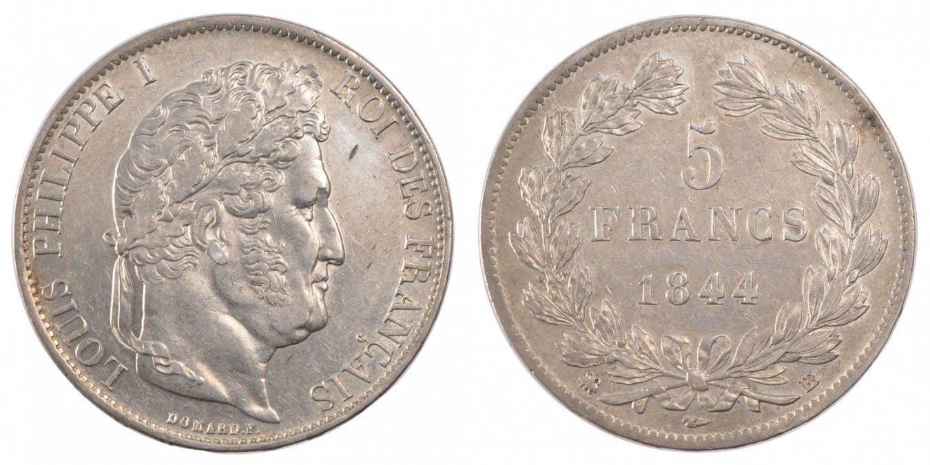 5 Francs 1844 BB Frankreich Louis-Philippe AU(55-58)
