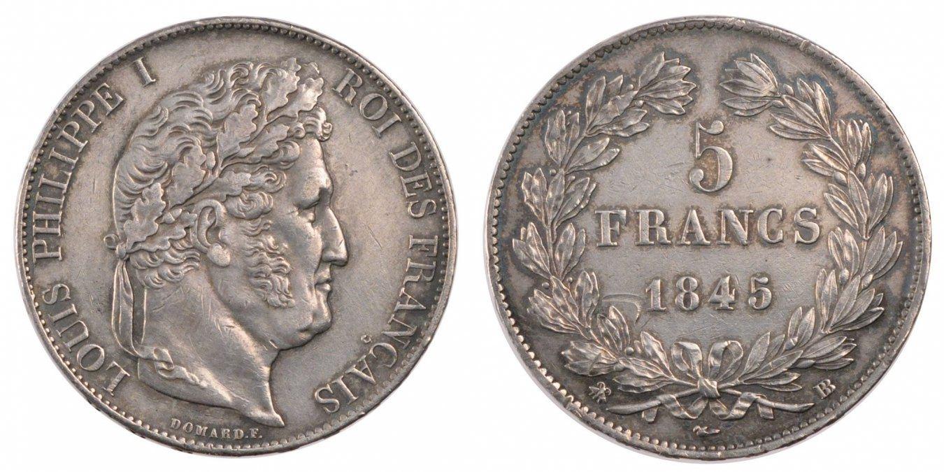 5 Francs 1845 BB Frankreich Louis-Philippe AU(55-58)