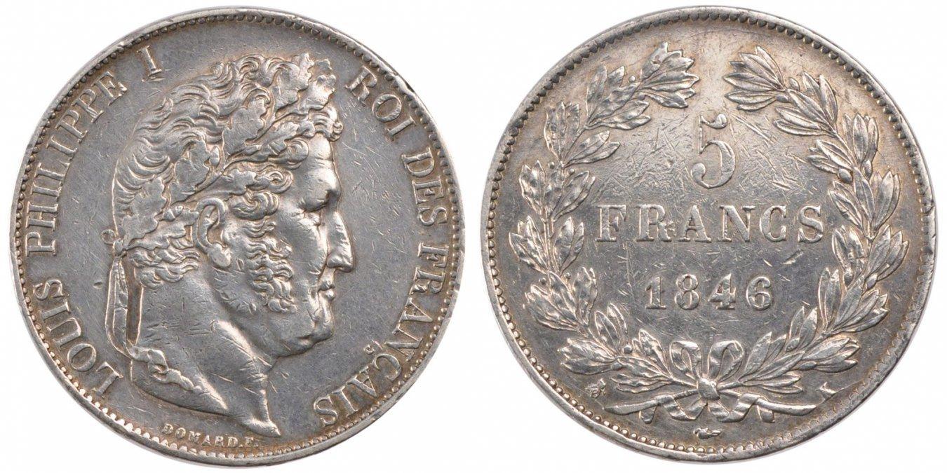 5 Francs 1846 K Frankreich Louis-Philippe EF(40-45)