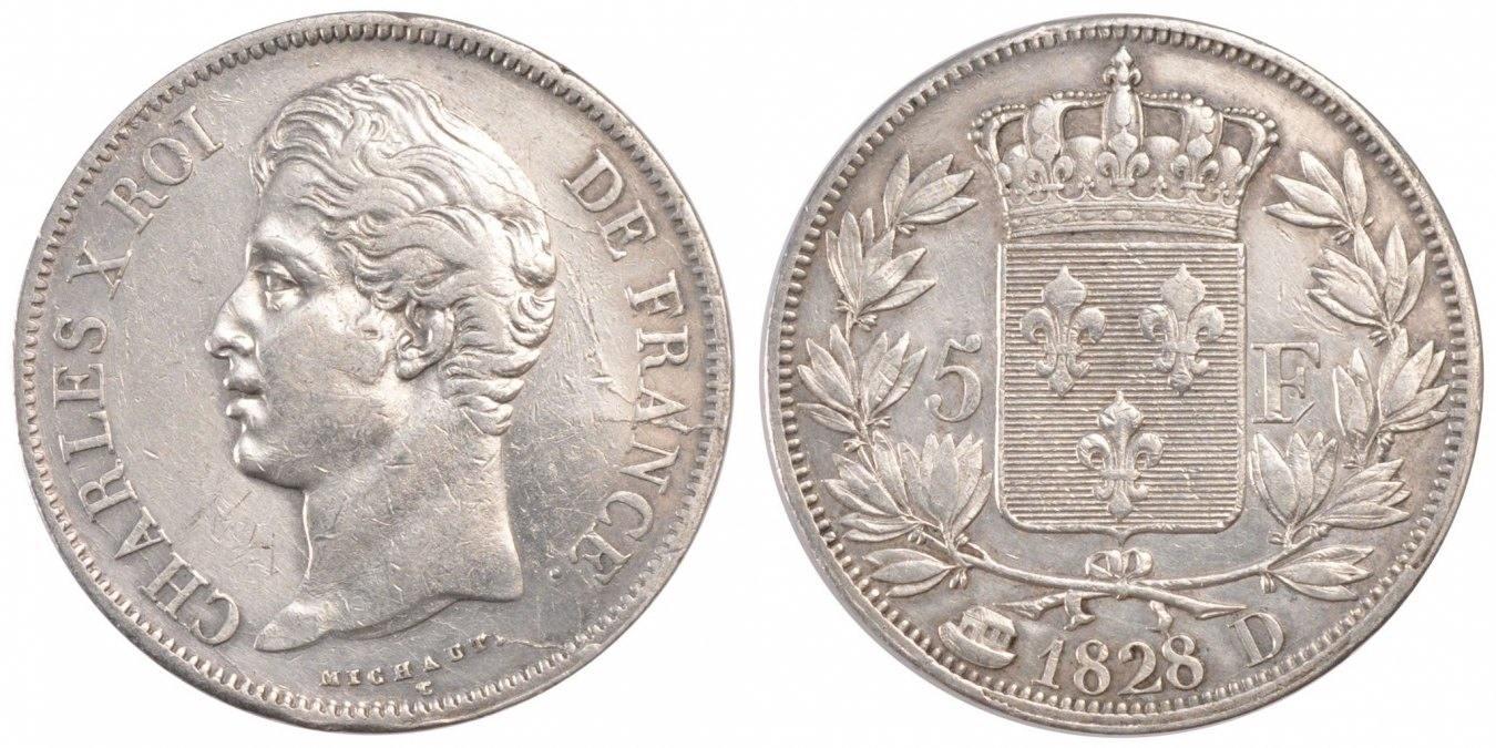5 Francs 1828 D Frankreich Charles X EF(40-45)